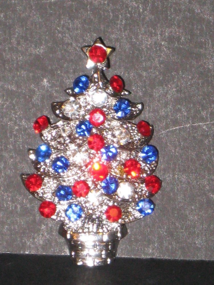 Vintage PATRIOTIC CHRISTMAS TREE PIN RED, WHITE (clear), BLUE