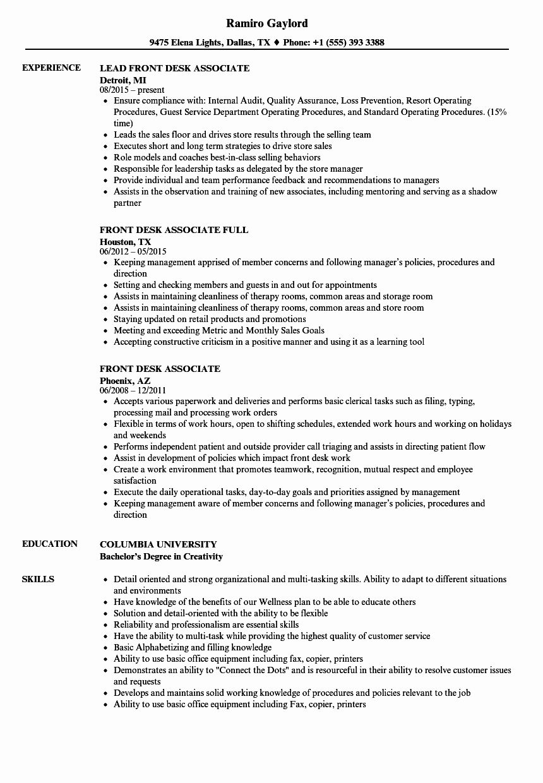 Hotel Front Desk Job Description Resume Luxury Front Desk Associate Resume Samples Resume Examples Marketing Resume Business Analyst Resume
