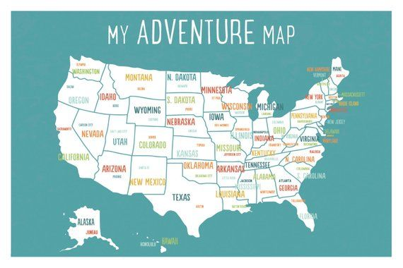 Kids Usa Map.Usa Adventure Map Wall Art Print Personalized Travel Map 18x12