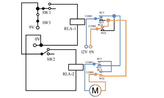 دائرة للتحكم في اتجاه محركات التيار المستمر Dc بالريليه Electronic Bubble Circuit Reverse Floor Plans