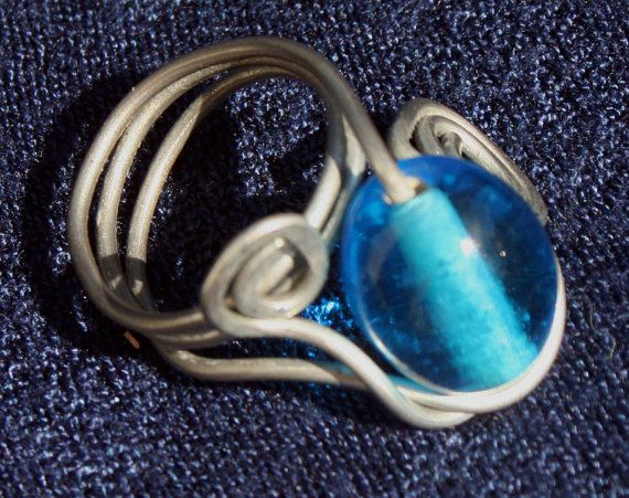 Aqua  Sea  Blue Wire Wrapped Ring by RedBoatStudio on Etsy, $22.00