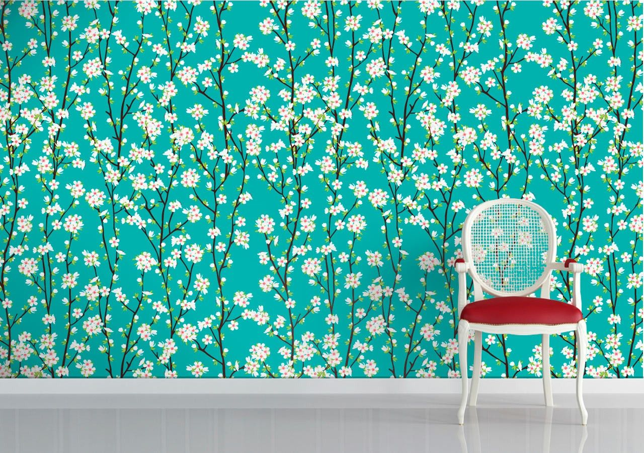 Cherry Blossom Turquoise wallpaper Turquoise Pinterest