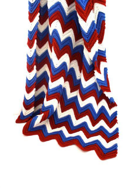 Vintage Red White & Blue CHEVRON Stripe Handmade Afghan