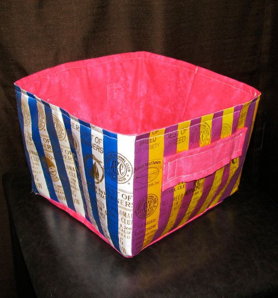 ribbon quilt fabric basket made from akc dog show ribbons lined cotton handles folds flat for. Black Bedroom Furniture Sets. Home Design Ideas