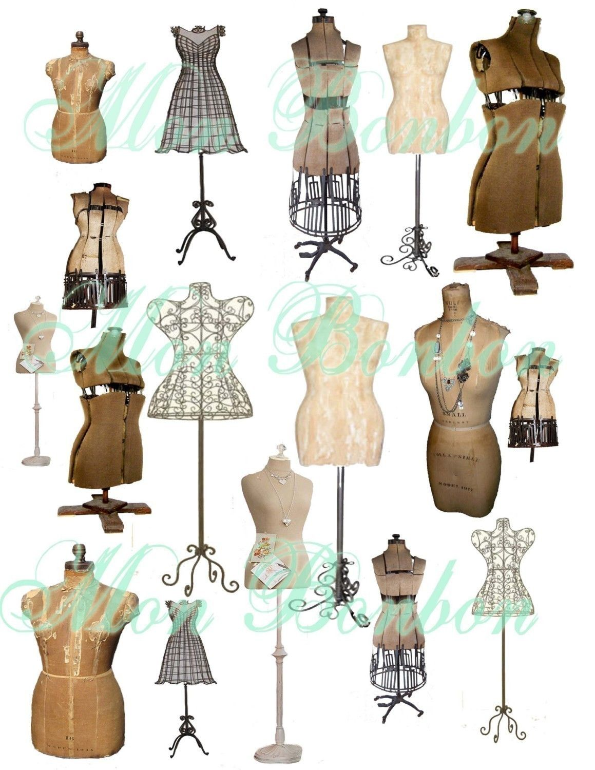 collage sheet of vintage and antique dress forms