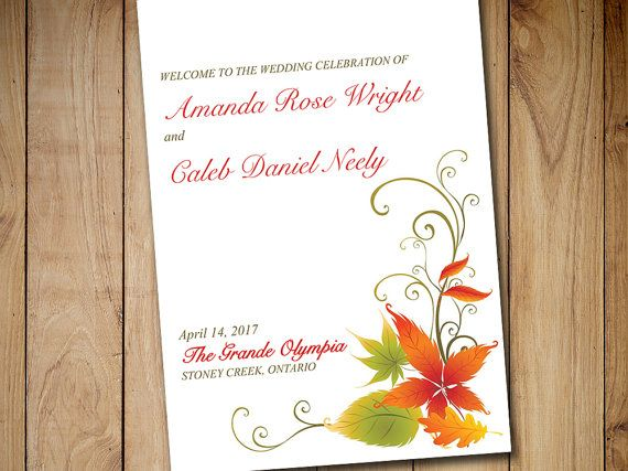 fold over wedding program template download maple flourish red