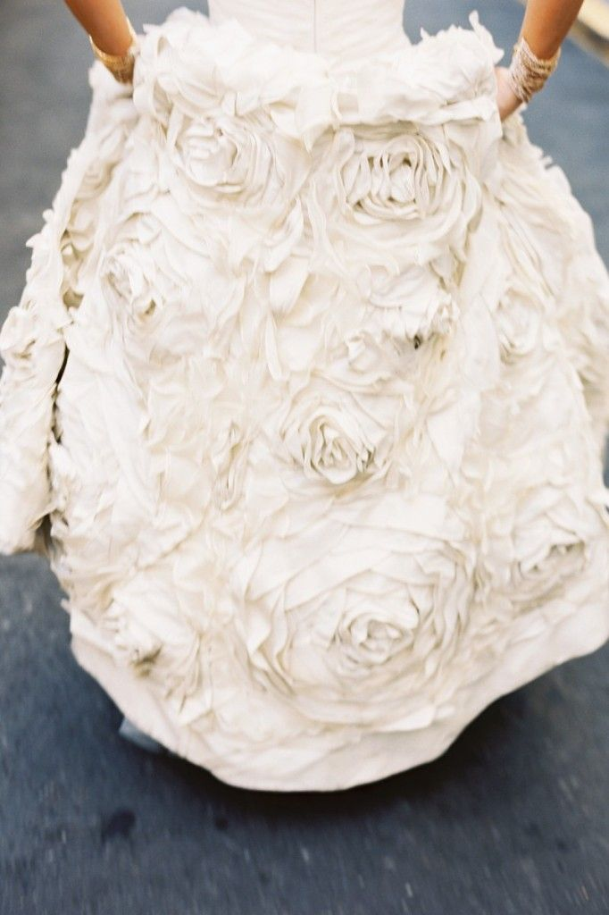 The rose ruffle detail on the bottom is so beautiful.