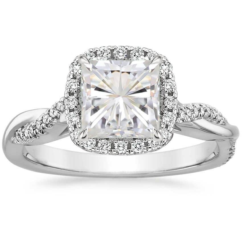 18K White Gold Moissanite Petite Twisted Vine Halo Diamond