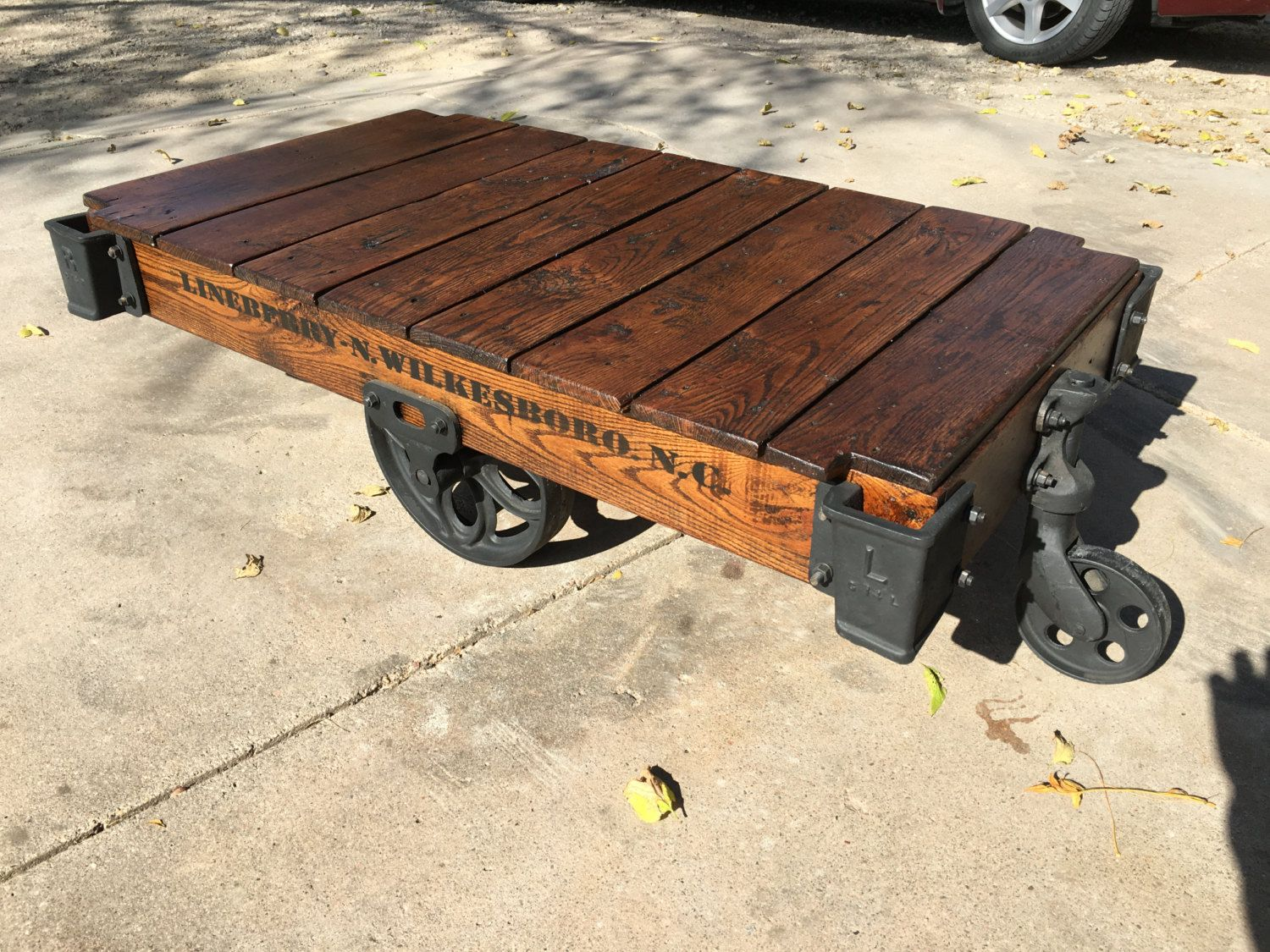 Lineberry Factory Cart Railroad Cart Coffee Table By