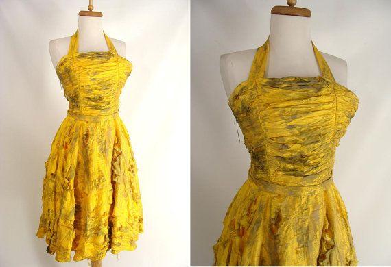 BLOOD OPTIONAL Short Yellow Halter Zombie Prom Dress Halloween Costume size 0 XS by wardrobetheglobe, $78.00