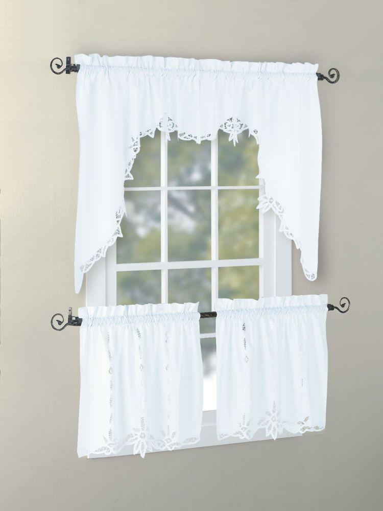 Vintage Antique Cotton Handmade Battenburg Lace Valance Swag Tier White Ecru Curtains Curtain Patterns