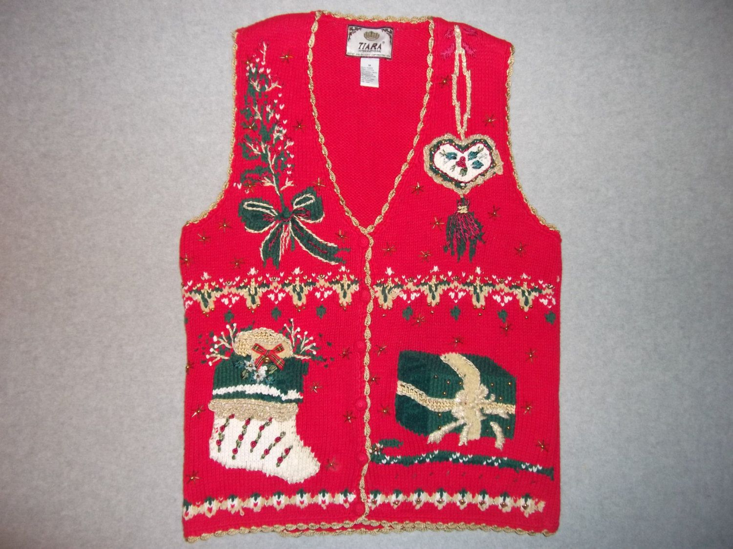 Christmas Morning Sweater Vest Button Up Red by vintagesweaters1 ...