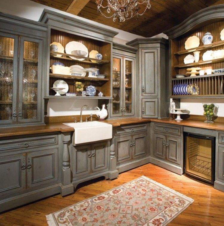Charming And Practical Pantry Cabinet Design Ideas Wooden Kitchen Pantry Cabinet In Grey With Glass Door Set On The Corner With Small Rug : Cool And Practical Pantry Cabinet Design Ideas Wooden Kitchen Pantry Cabinet In Grey With Glass Door Set On The Corner With Small Rug 750x759