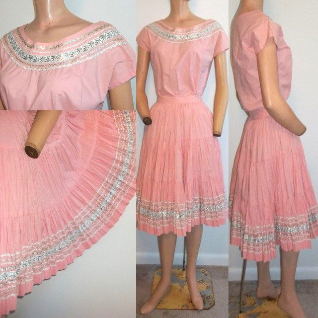 Vintage Pink Patio Squaw Dress Silver And White Trim Full Circle Skirt M I This Handless Mannequin But Is Close To What Had As A Child
