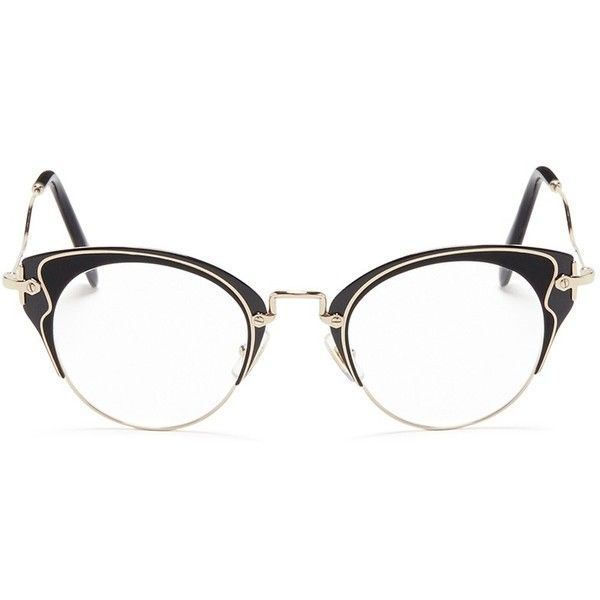 3bea55095 Miu Miu Acetate inlay wire cat eye optical glasses ($360) ❤ liked on  Polyvore featuring accessories, eyewear, eyeglasses, black, miu miu eyewear,  ...