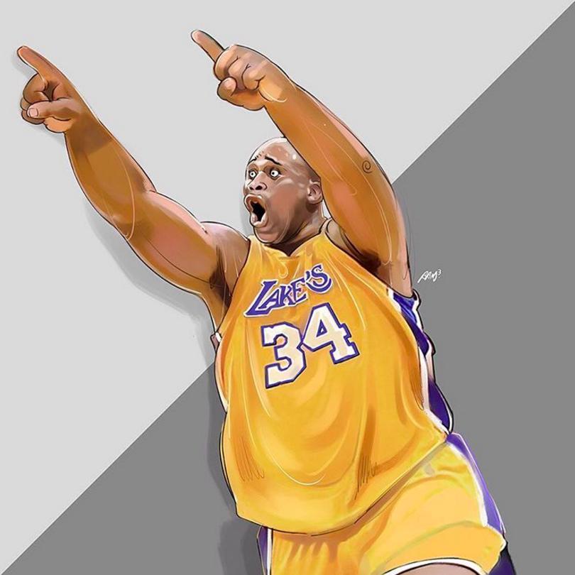 Bryant To Shaq Illustration Shaquille O Neal Nba Art Nba Basketball Art