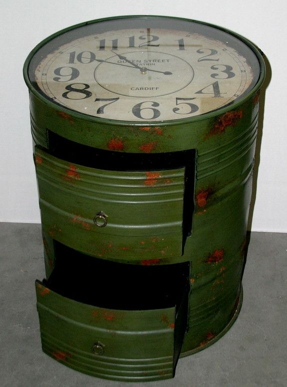 ölfass Stehtisch Industrial Drum Cabinet Clock | Pipas | Drums, Barrel Bar