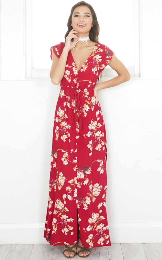 Kiss You Better maxi dress in wine floral SHOWPO Fashion Online
