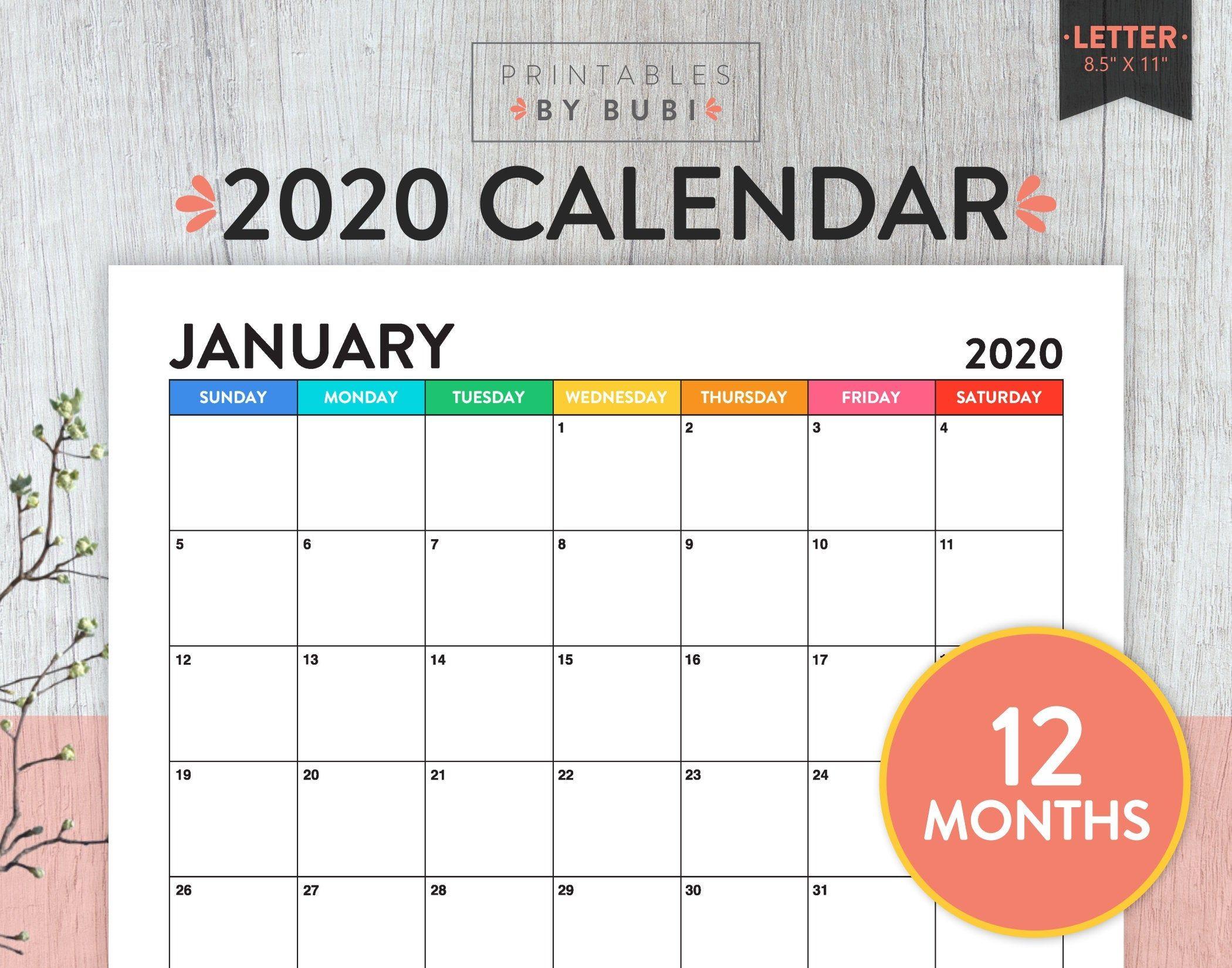 Printable Monthly Calendar 2020 Calendar Printable 2020 Wall