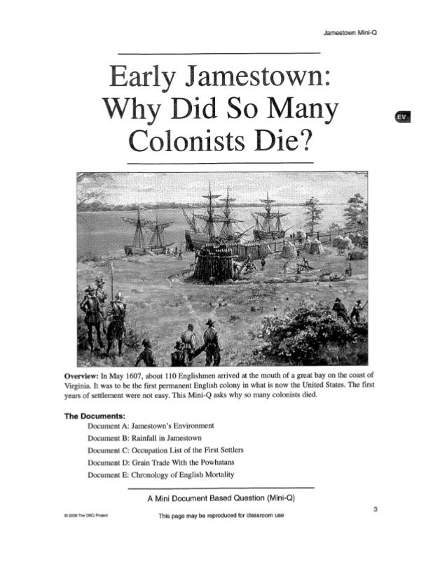 "dbq jamestown In this lesson, students will learn about factors that led to the jamestown "" starving time"" and describe the resulting changes in the colonists' food sources."