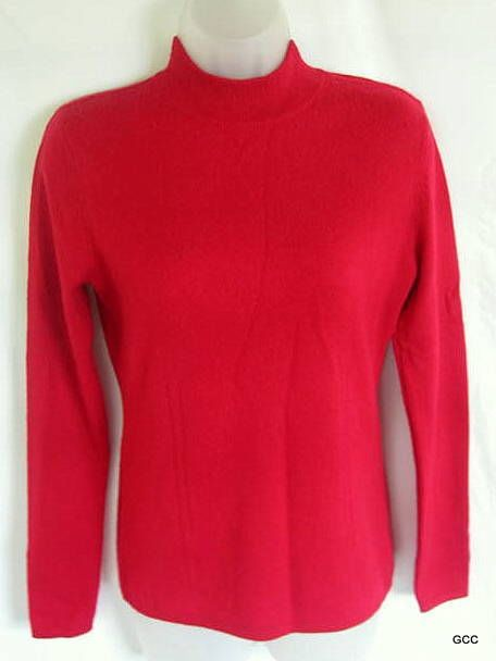 PRIVE Red Cashmere Mock Turtleneck Pointelle Sweater Top Shirt S #Prive #TurtleneckMock