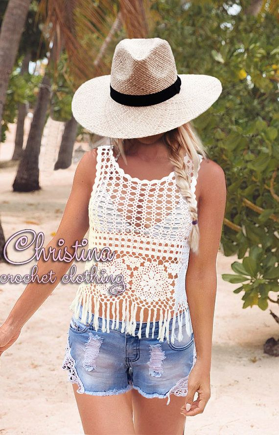 3cc9b4bc9d592b Crochet crop top fringe handmade lace summer white color festival boho  hippie beach sexy FREE SHIPPING