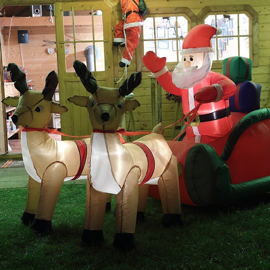 Aufblasbarer #Rentierschlitten mit #Weihnachtsmann, Höhe ca. 150 cm, Breite ca. 240 cm für die weihnachtliche Dekoration im Haus oder im Garten. #weihnachten #weihnachtsdeko #weihnachten dekoration #beleuchtung weihnachten #deko weihnachten
