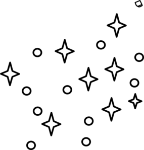 Stars white. Clipart black and border