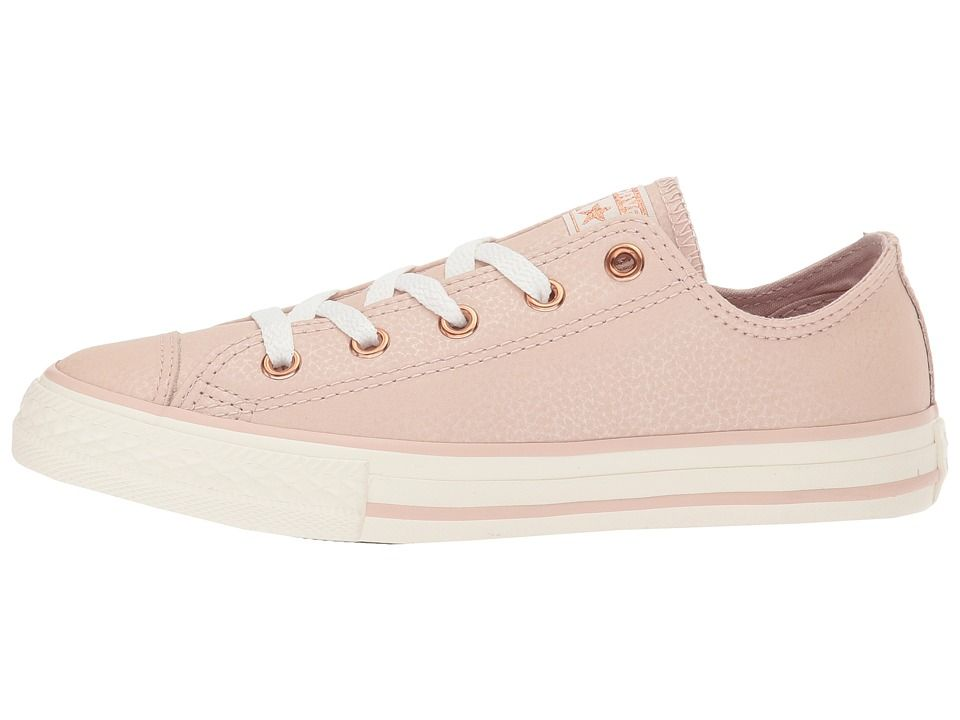facb50d753b9 Converse Kids Chuck Taylor All Star Fashion Leather Ox (Little Kid Big Kid)  Girls Shoes Particle Beige Egret Rose Gold