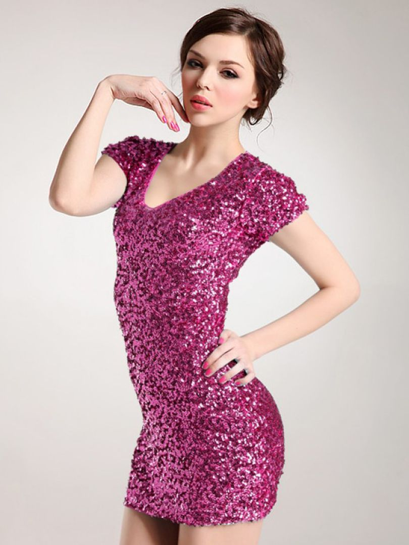 Purple V Neck Sequined Short Sleeve Bodycon Dress   fashion is my ...
