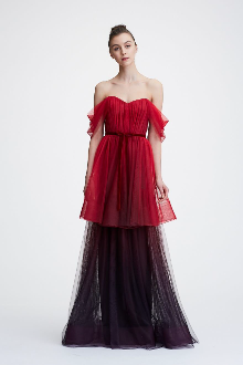 f3fa6c06 Marchesa Notte Off the Shoulder Ombre Tulle Tiered Gown N26G0721 ...