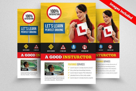 Driving School Flyer Template by Design Up on @creativemarket - school brochure template
