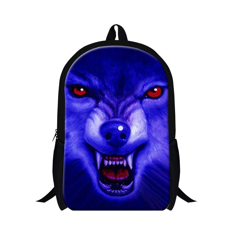 16 inch Wolf Cool Mens Shoulder Backpack Animal 3D Print Bags ...