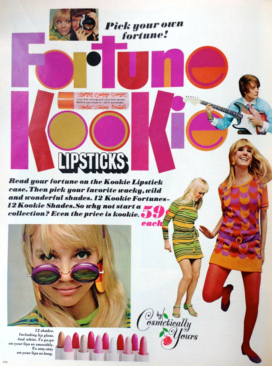 Cosmetically Yours Fortune Kookie Lipstick Ad 1967