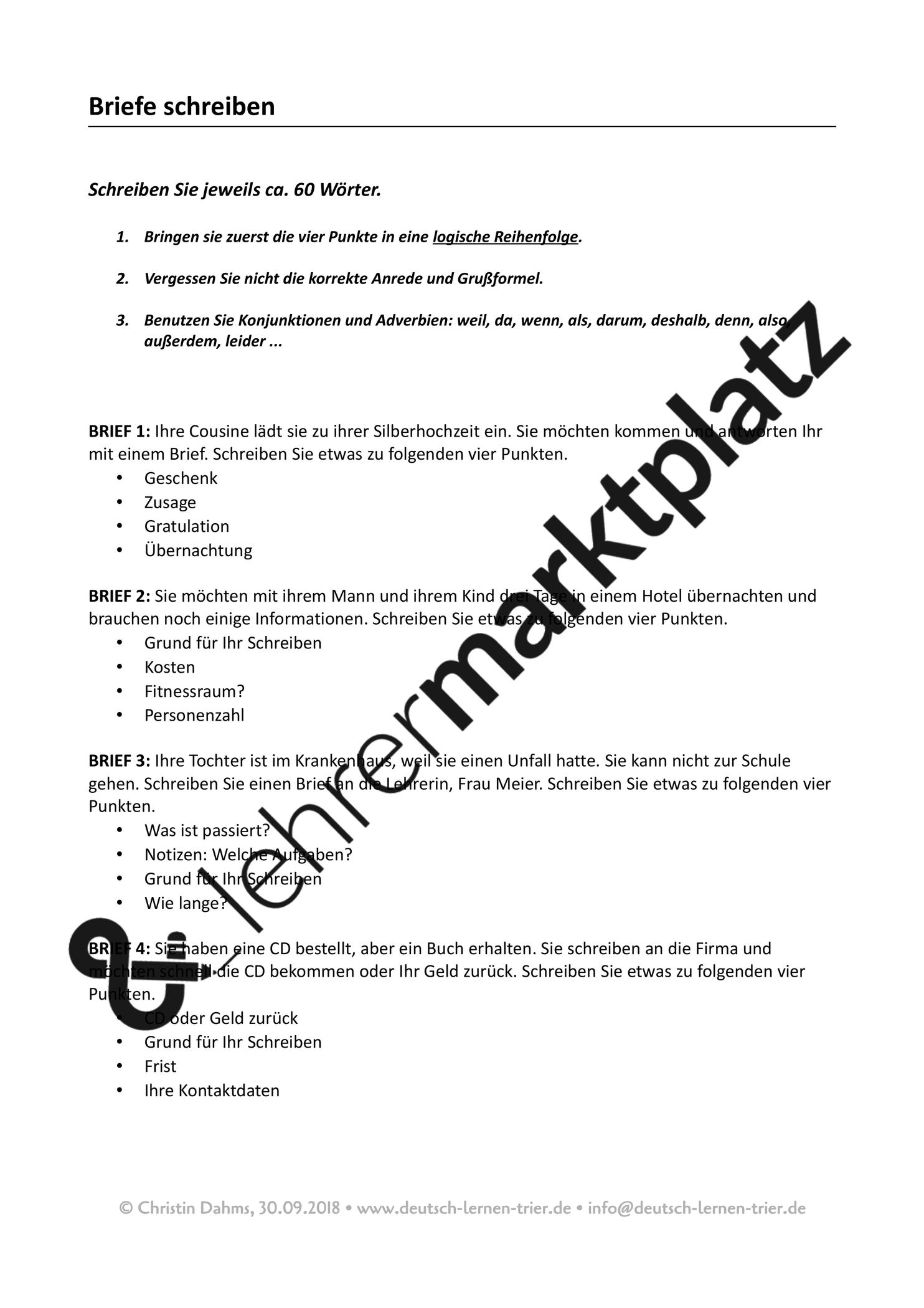 Dtz Briefe Schreiben Sammlung Aus 10 Aufgaben Unterrichtsmaterial Im Fach Daz Daf In 2020 Briefe Schreiben Briefe Deutsch Lernen