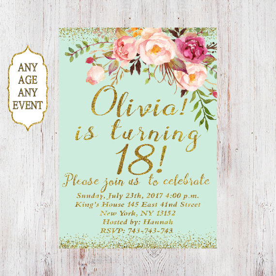 18th Birthday Invitation Women Fl Mint 14th 15t