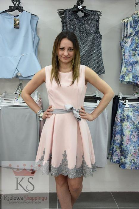 3ffeb1543 Koktajlowa sukienka z kokardką w pasie róż szary // fashion4u.pl #sukienka #