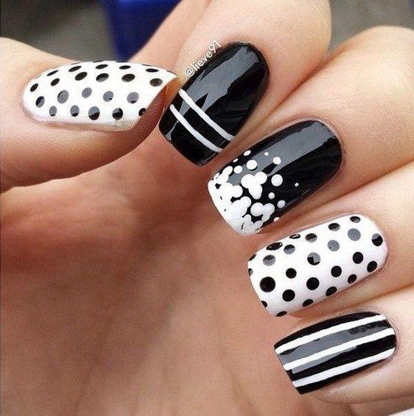 40+ Pretty Polka Dots Nail Designs | White nail art, White nails and ...
