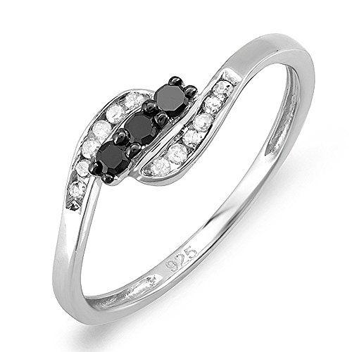 0 25 Carat Ctw Sterling Silver Black White Diamond 3 Stone