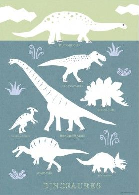 Dinosaur Poster, Dinosaur Illustration for Kids by Melusine Allirol #dinosaurillustration
