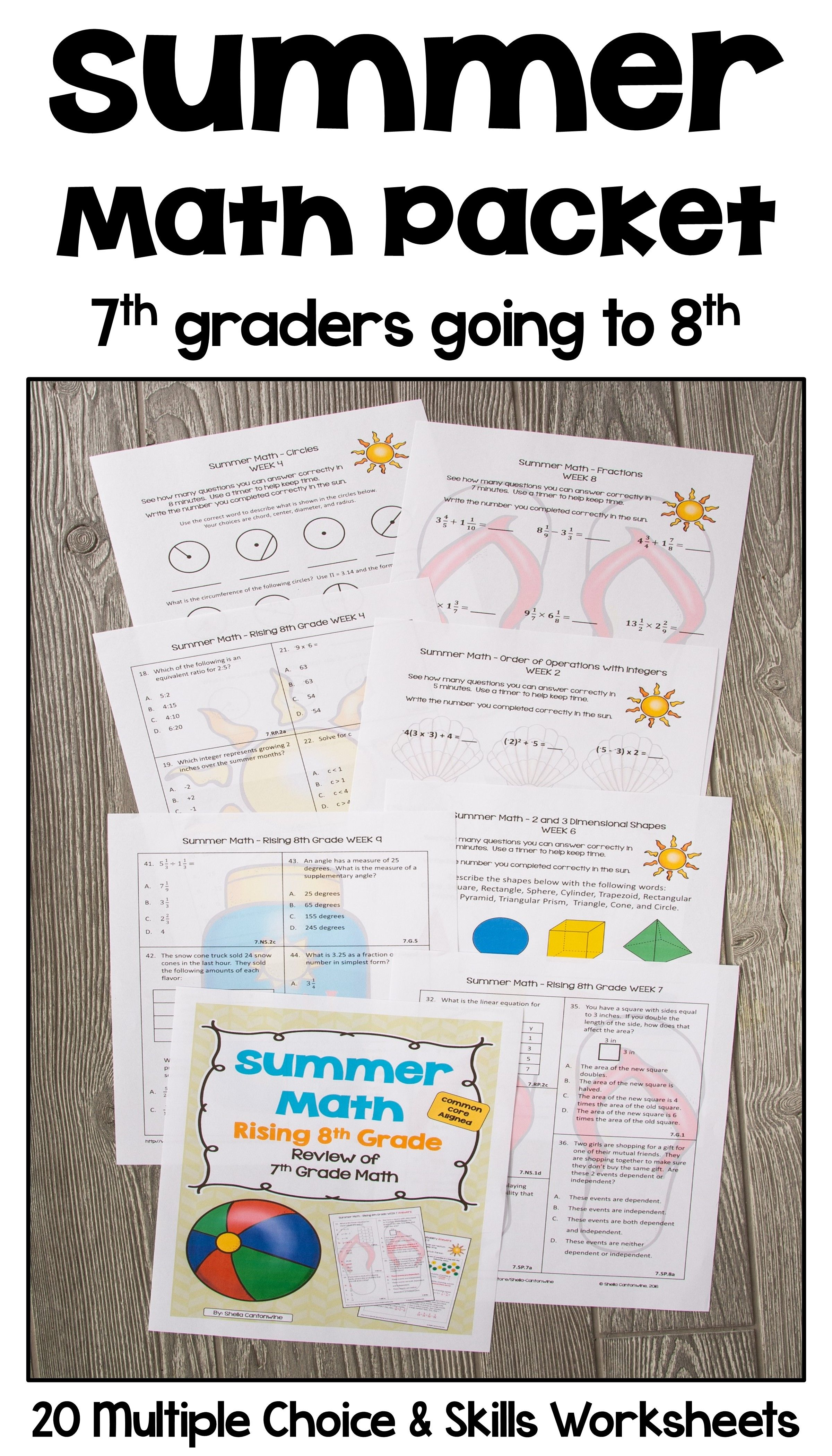 Summer Math Packet For Rising 8th Graders