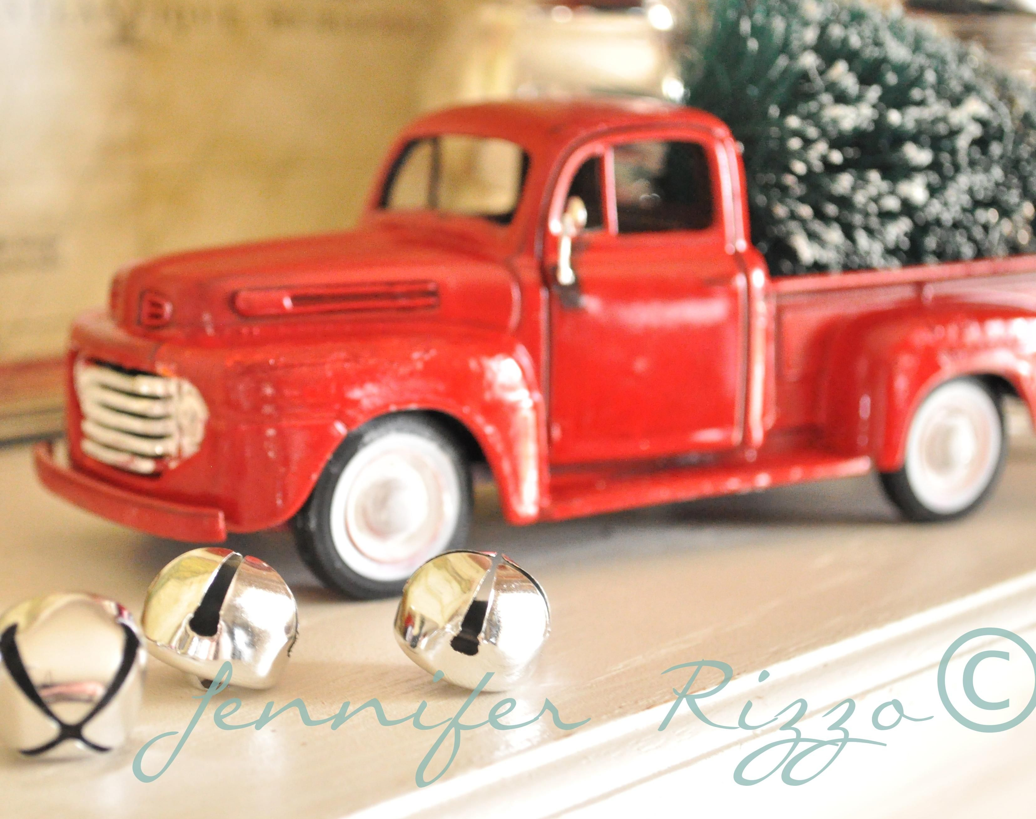 Craft Painting Of A Chevy Red Truck With Christmas Tree