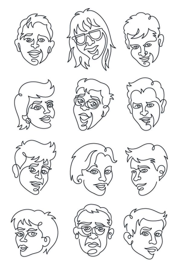 Line Drawing Faces : Continuous line illustration drawsigner an