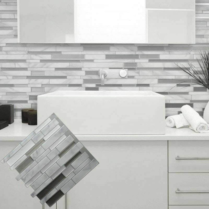 White Grey Marble Mosaic Peel And Stick Wall Tile Self Adhesive Backsplash Diy Wall Tiles Ideas Of Wall Tiles