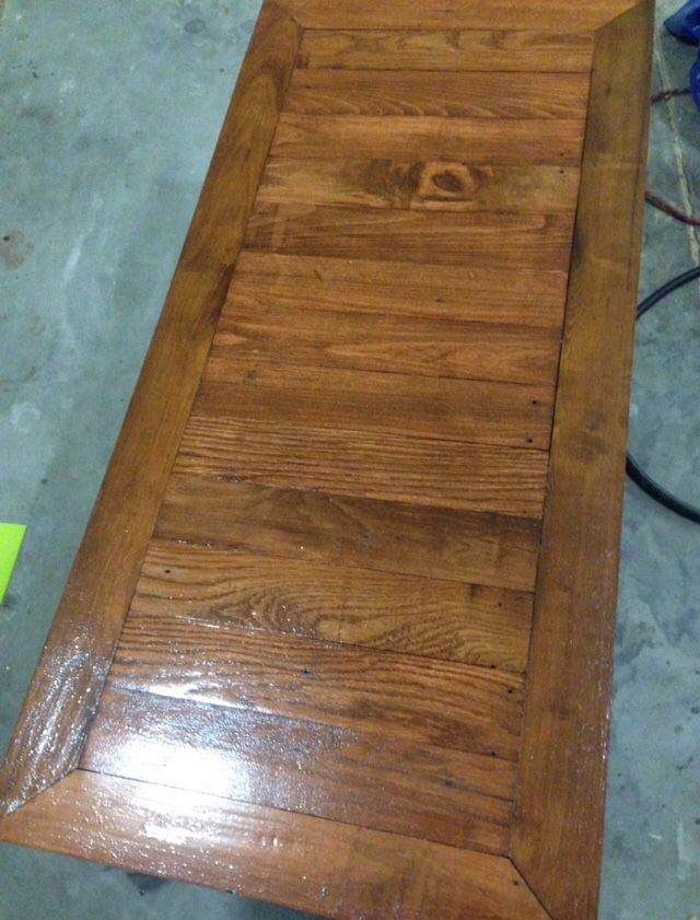 Solid oak coffee table that we built from old barn wood ...