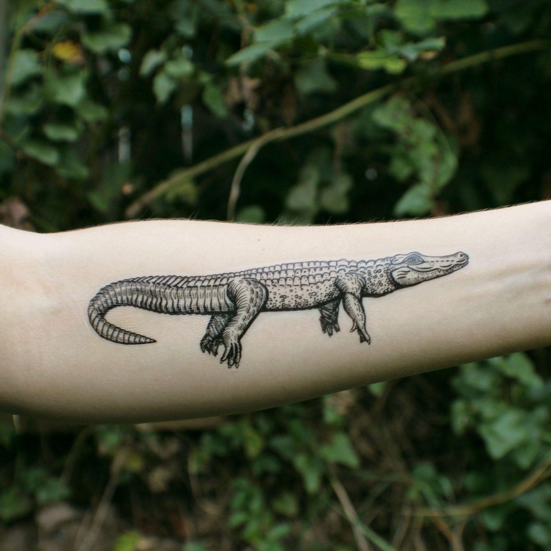 Alligator Temporary Tattoo Crocodile Tattoo Black Ink Design