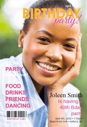 Womens Party Magazine Cover Birthday Invitation Template Free Greetings Island Free Printable Birthday Invitations Printable Birthday Invitations Birthday Party Invitations Free