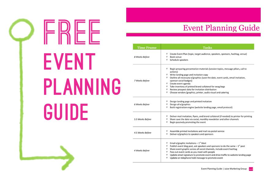 Free Event Planning Template via Juice Marketing Group Event - Sample Timeline