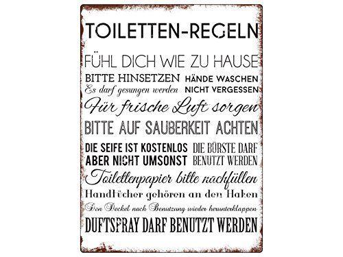 Wandschild Metallschild Toiletten Regeln Lustig Dekoschild Badezimmer Wc Toiletten Wandschilder Badezimmer Regeln