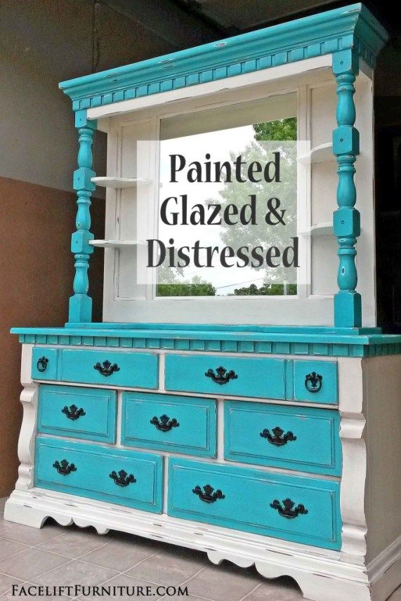 Distressed Turquoise Off White Dresser With Mirror Hutch And Paint Furniture